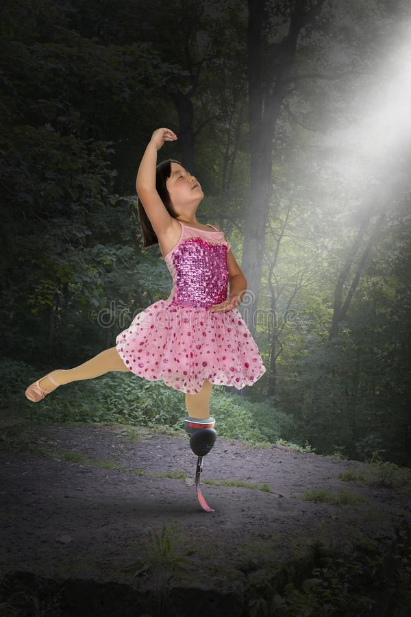 Surreal Girl, Dancer, Hope, Peace, Love, Amputee royalty free stock photo