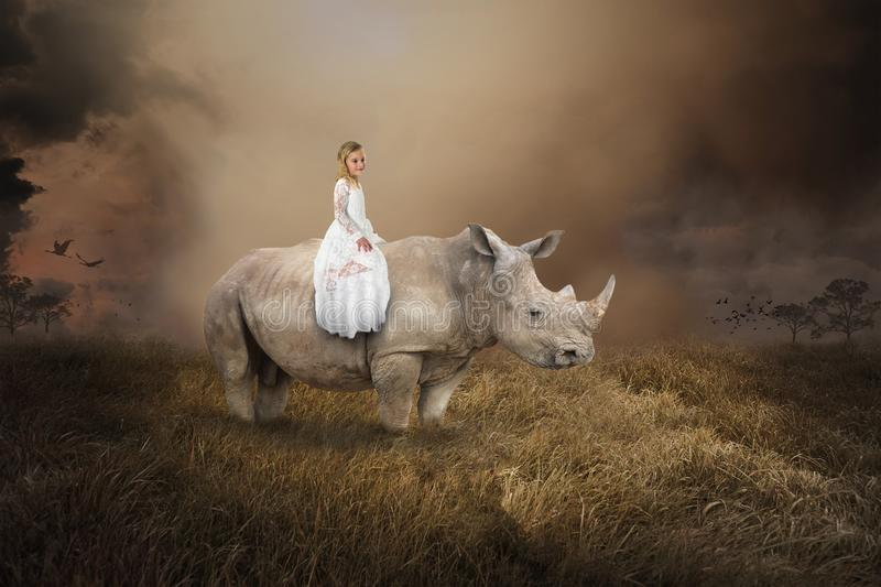 Surreal Girl Riding Rhino, Rhinoceros, Wildlife. A young pretty girl is riding a rhino or rhinoceros wildlife animal in a surreal landscape. The little woman stock photography