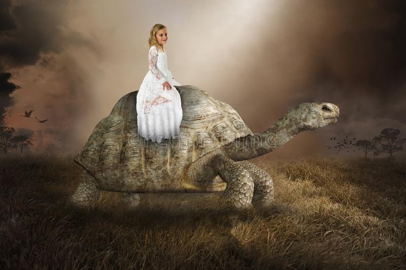 Surreal Girl, Turtle, Tortoise, Nature, Peace, Love. Surreal young girl riding a giant turtle or tortoise. Abstract concept for the environment, environmentalism royalty free stock photos