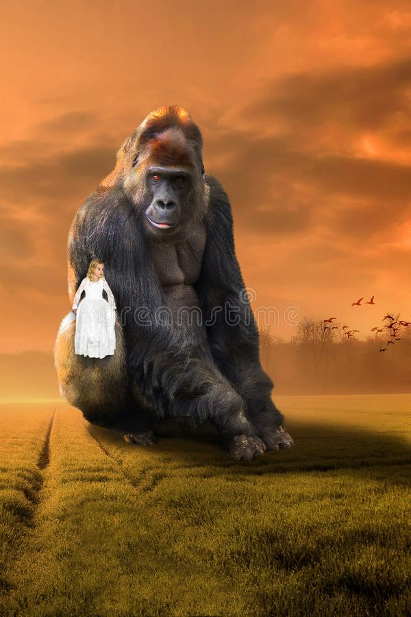 Surreal Gorilla, Girl, Imagination, Nature, Wildlife. Surreal gorilla and a young girl sit together. Abstract concept for friend, friends, friendship, nature