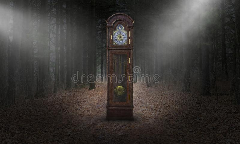 Surreal Grandfather Clock, Time, Woods, Nature stock image