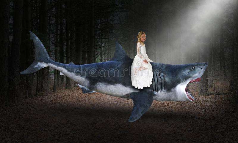 Surreal Shark, Girl, Woods, Nature, Forest. Surreal great white shark is swimming through the air in a deep, dark woods. A young girl is riding the marine royalty free stock photo
