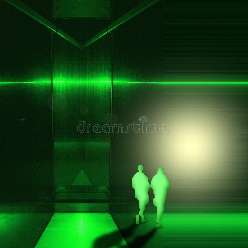 Surreal groene metaal binnenlandse ruimte met twee cijfers van jonge mensen loopt naar het licht royalty-vrije illustratie