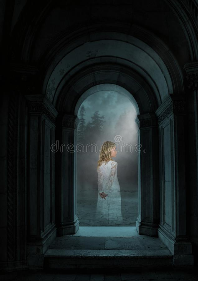 Surreal Halloween Ghost, Girl, Night. Surreal Halloween ghost. A young girl is a spirit in the dark night. The child is the living dead or undead stock photos