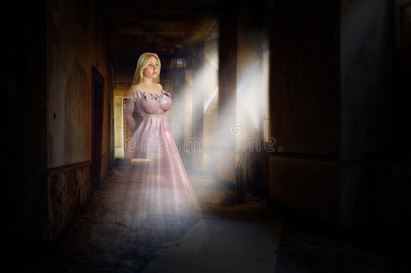 Surreal Halloween Ghost, Haunted House, Woman. Surreal Halloween ghost in a haunted house. The dead spirit used to be a beautiful young woman and is wearing a stock image
