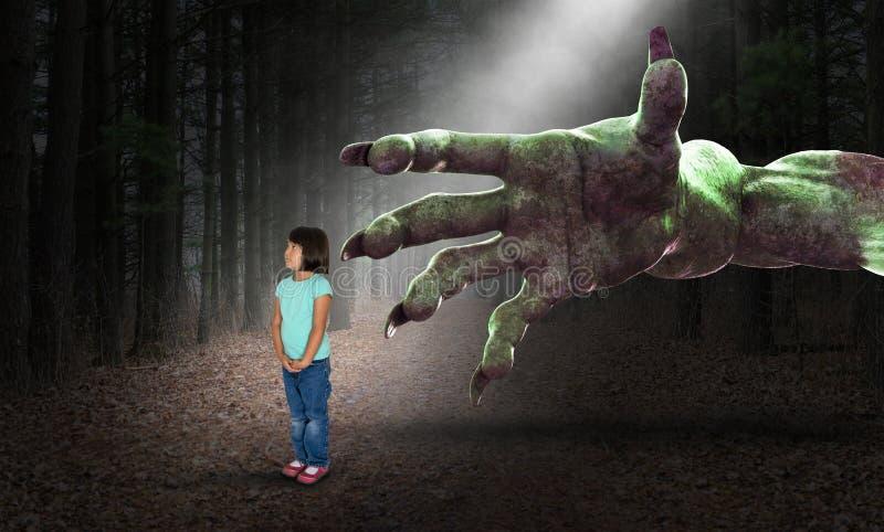Surreal Halloween, Meisje, Kinderjaren, Nachtmerrie, Verschrikking, Verschrikking stock foto's