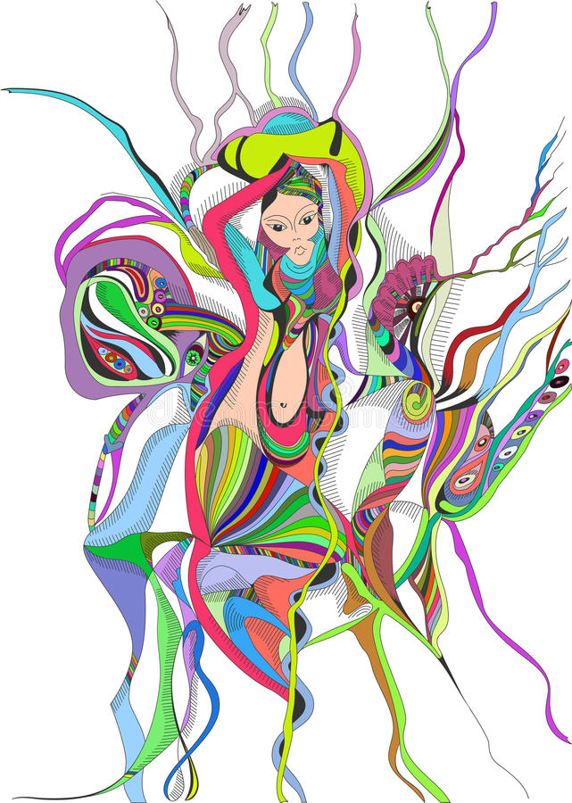 Surreal het meisje van de handtekening het dansen buikdans stock illustratie