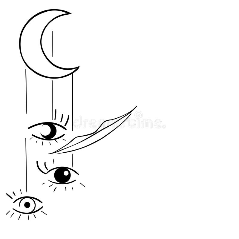 Surreal illustration, moon, eyes, smile. Vector surreal illustration, moon, eyes, smile royalty free illustration