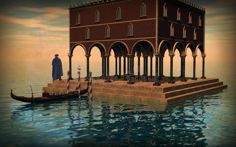 Surreal illustration of Venice lagoon. An illustration of a venetian palace on the waters in the Venice lagoon with a gondola, a gentleman with a black mantle royalty free illustration