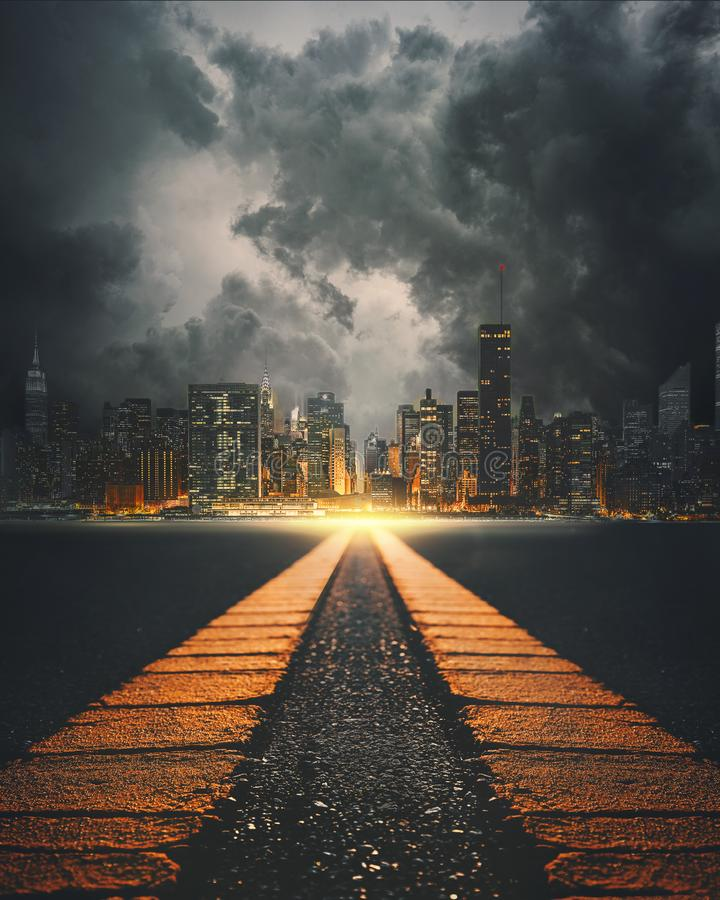 Surreal highway to New York City royalty free stock photo