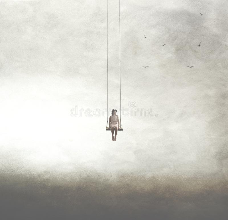 Free Surreal Image Of A Woman On A Swing Suspended In The Sky Royalty Free Stock Photo - 143991295