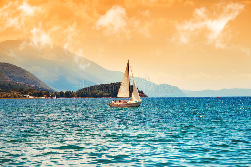 Surreal image of Ohrid Lake. Macedonia royalty free stock image