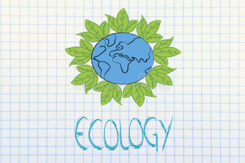 Download Surreal Interpretation Of Green Economy, Planet Earth With Leave Stock Illustration - Image: 34644100