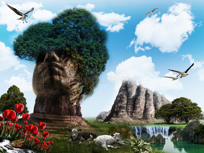 Surreal landscape. With mountain shaped like a head royalty free illustration