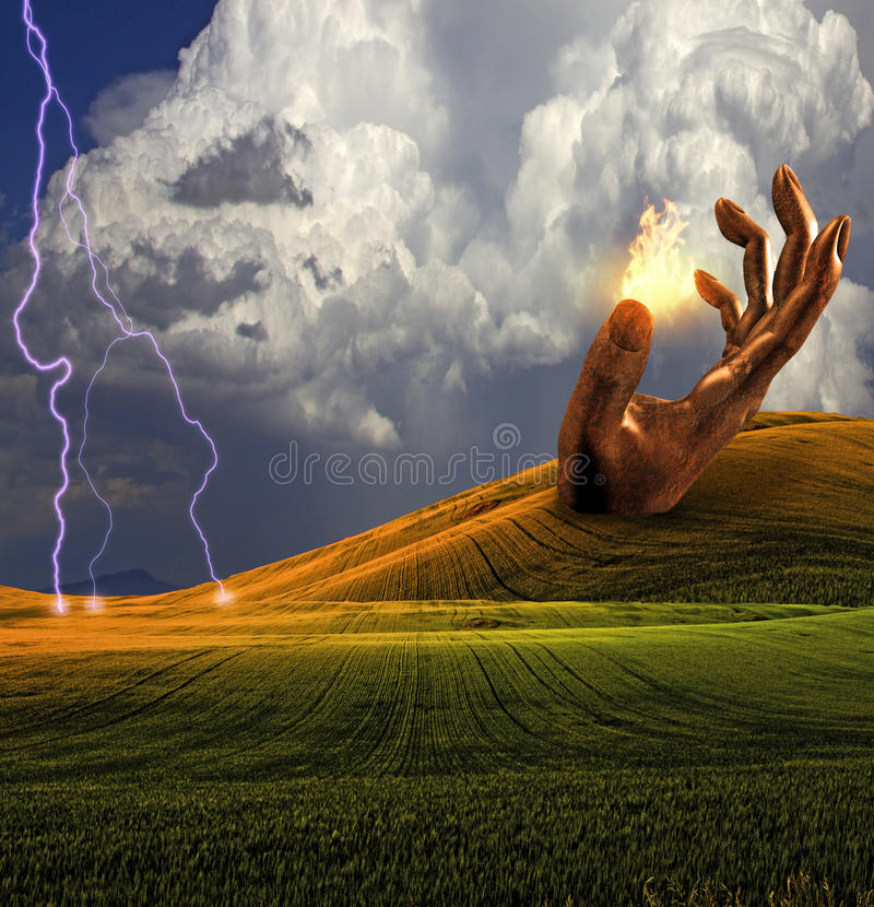 Surreal Landscape With Giant Sculptures And Fire Stock Photography