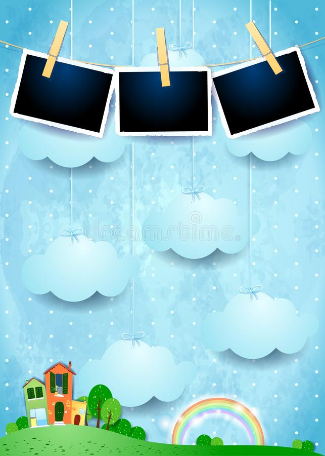 Surreal landscape with houses, hanging clouds and photo frames. Vector illustration eps10 vector illustration