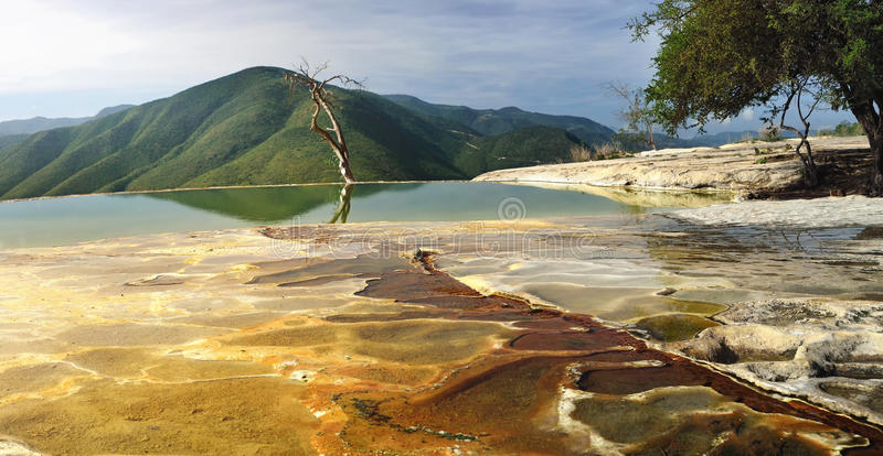 Surreal landscape morning mountain view with mineral springs Hie stock images