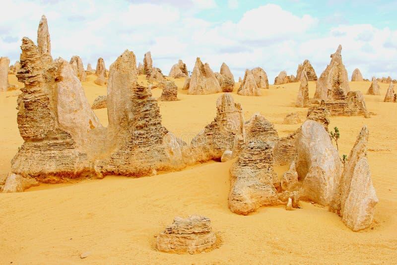 Surreal landscape in the Pinnacles desert, Australia stock photo