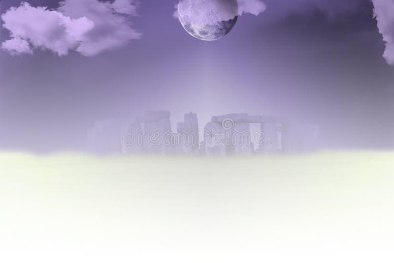 Stonehenge. Surreal landscape. Stonehenge in clouds royalty free illustration