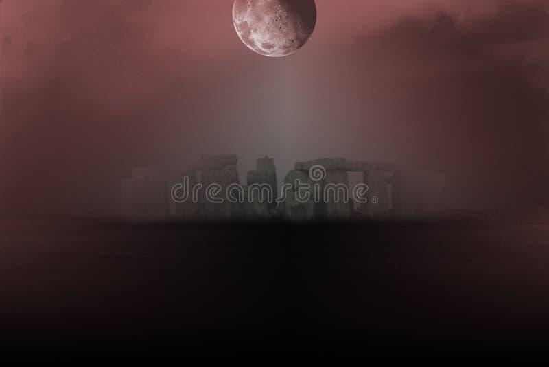 Stonehenge under full moon. Surreal landscape. Stonehenge in the fog. Full moon in the red sky vector illustration