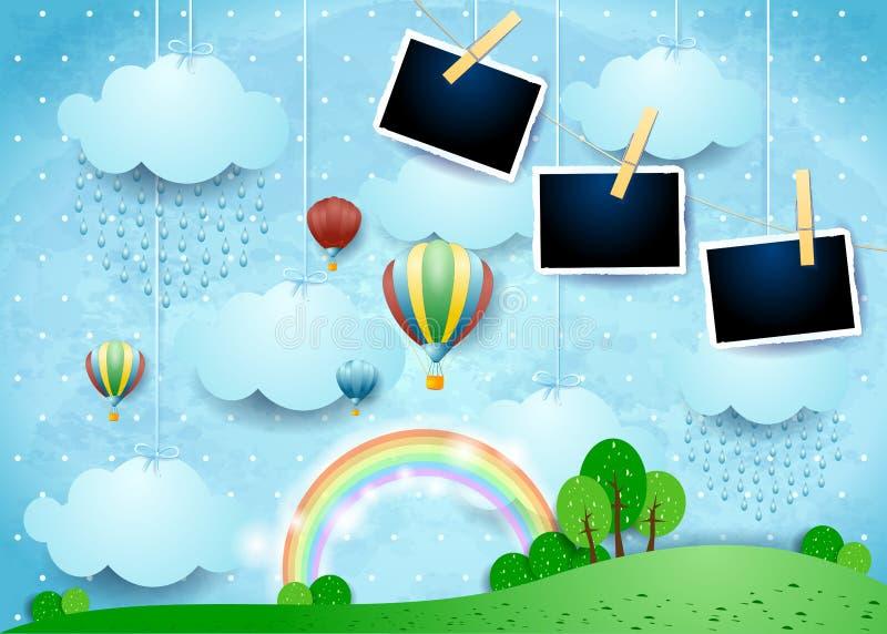 Surreal landschap met ballons, regen en fotokaders stock foto