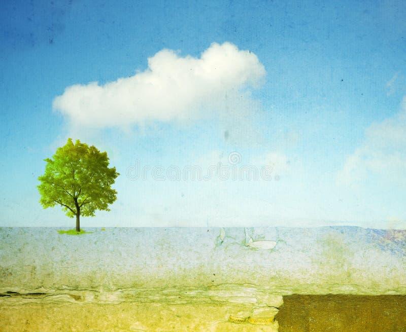 Surreal landschap met enige boom vector illustratie