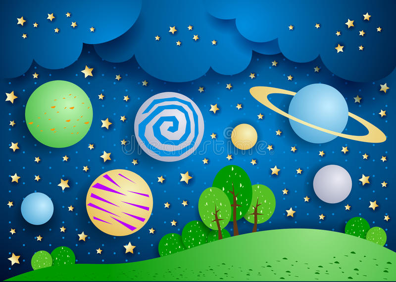 Surreal landschap met grote planeten in de hemel stock illustratie