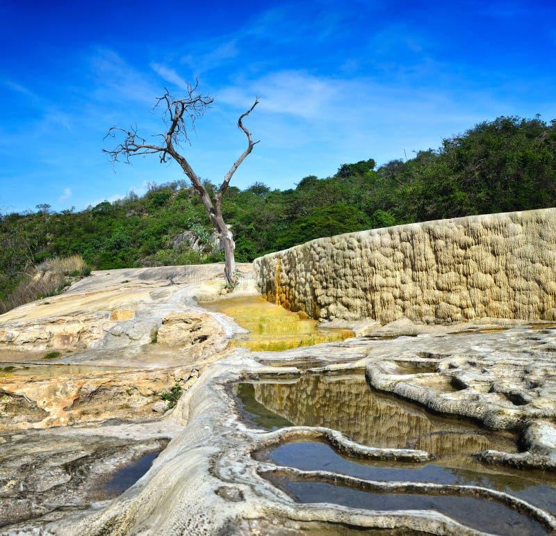 Surreal landschapsmening van de stadia van de minerale lentes Hierve E royalty-vrije stock afbeeldingen