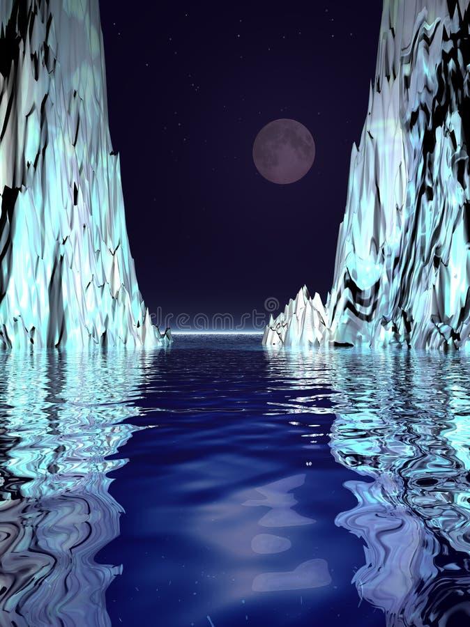 Surreal Maan en Ijs stock illustratie