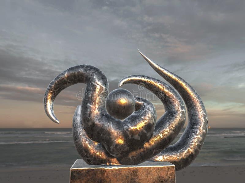 Surreal Metallic Sculpture On the Beach vector illustration