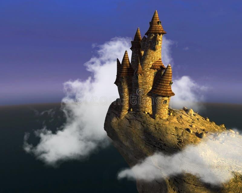 Surreal Middeleeuwse Kasteel van de Fantasiesteen stock afbeeldingen