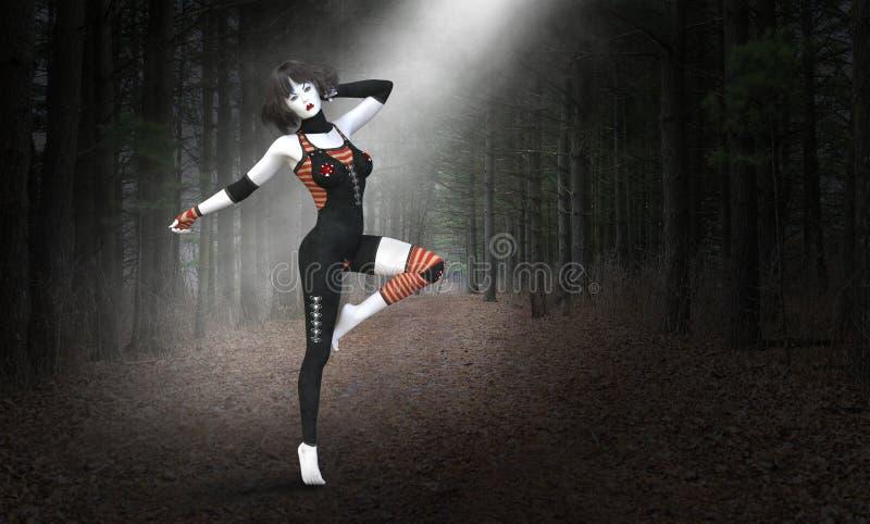 Surreal mimicar, dança, dançarino, misterioso ilustração royalty free