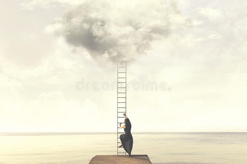 Surreal moment of woman climbing an imaginary scale to the clouds. Magical moment of woman climbing an imaginary scale to the clouds stock photography
