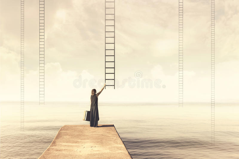 Surreal moment of a woman who has to choose which imaginary scale. To climb to the sky stock photo