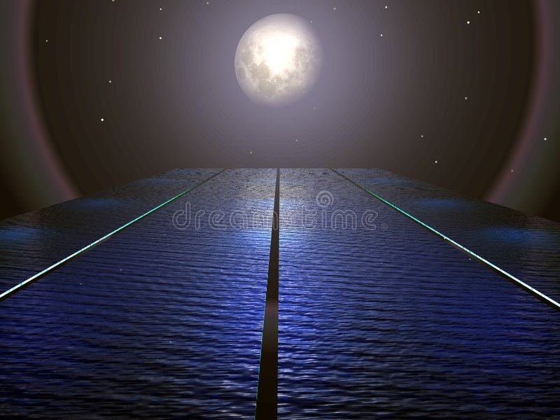 Download Surreal Moon and Water stock illustration. Illustration of surreal - 4024663