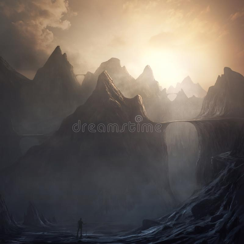 Surreal mountain landscape stock photography