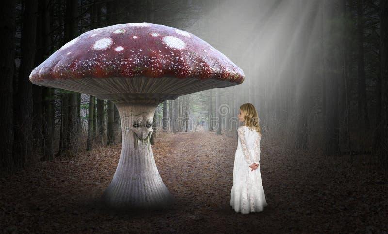 Surreal Mushroom, Girl, Imagination, Nature royalty free stock images