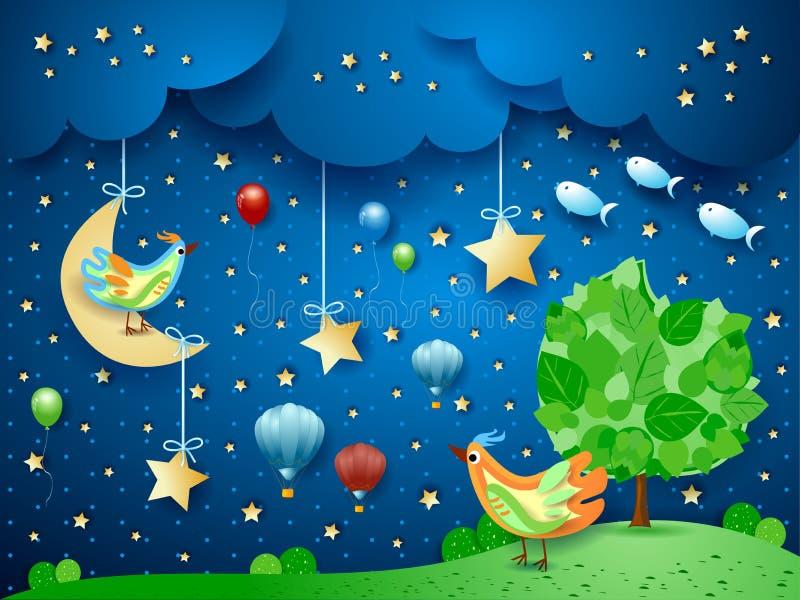 Surreal nacht met boom, vogels, ballons en vliegende vissen stock illustratie