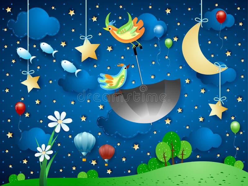 Surreal nacht met grote bloem, vliegende paraplu en vissen vector illustratie
