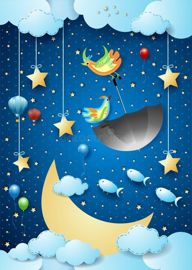 Surreal nacht met grote luna, vliegende paraplu en vissen royalty-vrije illustratie