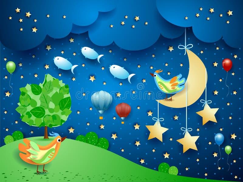 Surreal nacht met het hangen van maan, vogels, ballons en het vliegen van vissen stock illustratie