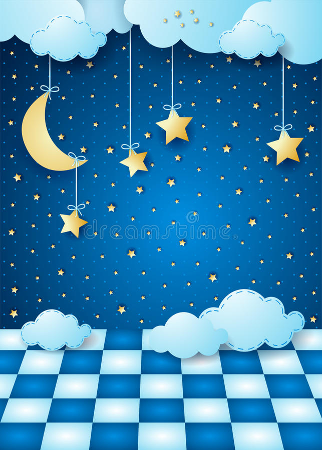 Surreal nacht met het hangen van maan, wolken en vloer royalty-vrije illustratie