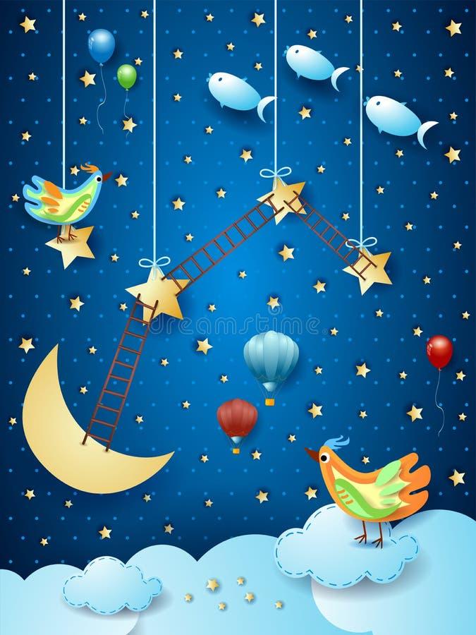 Surreal nacht met ladders, vogels, ballons en vliegende vissen vector illustratie