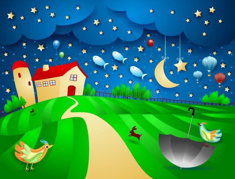 Surreal nacht met landbouwbedrijf, paraplu en vliegende vissen royalty-vrije illustratie