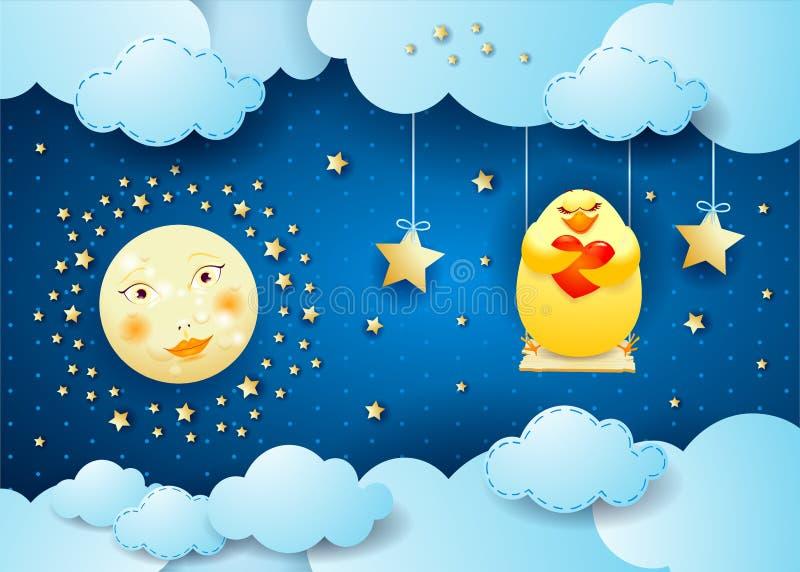 Surreal nacht met maan, schommeling en kuiken in liefde royalty-vrije illustratie