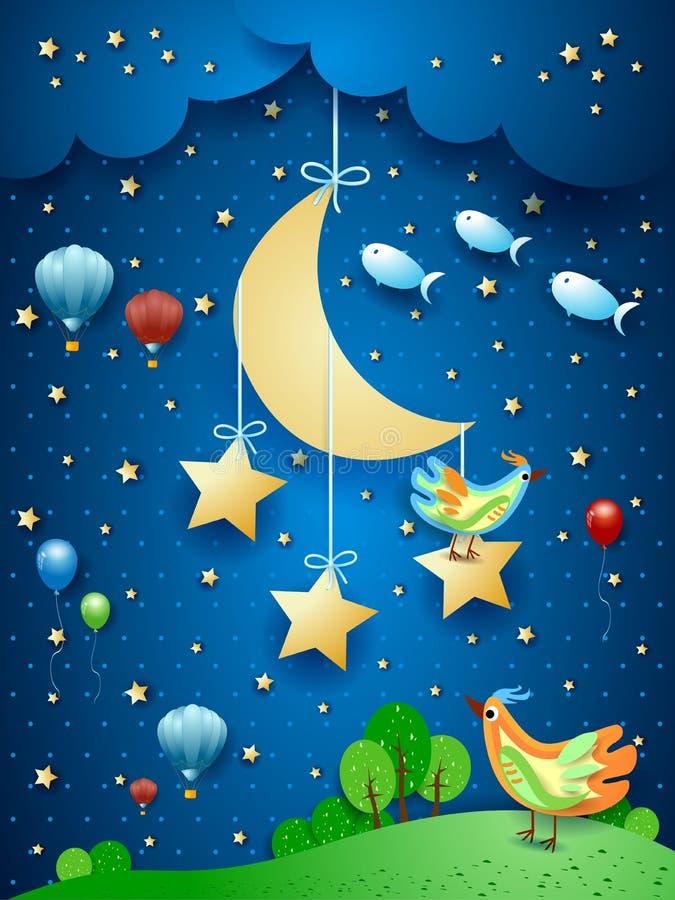 Surreal nacht met maan, vogels, ballons en vliegende vissen vector illustratie