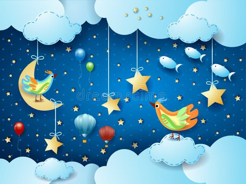 Surreal nacht met maan, vogels, ballons en vliegende vissen royalty-vrije illustratie