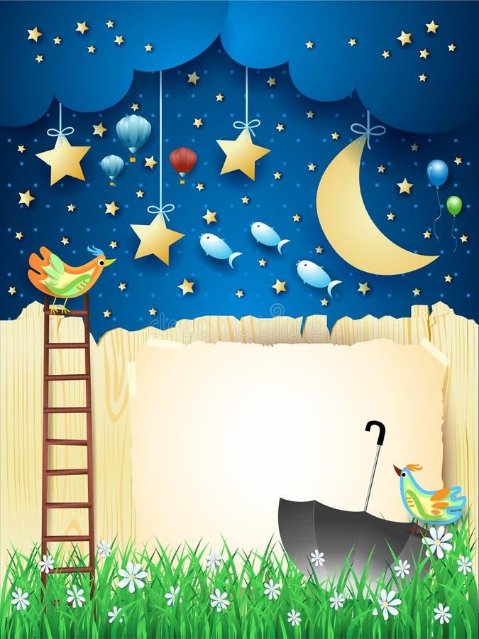Surreal nacht met omheining, trap, paraplu en vliegende vissen vector illustratie
