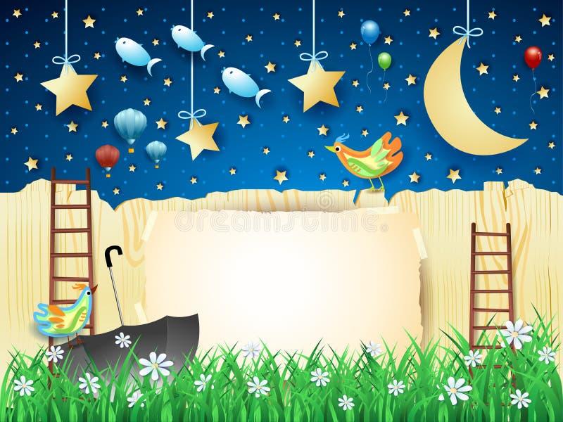 Surreal nacht met omheining, trap, paraplu en vliegende vissen stock illustratie