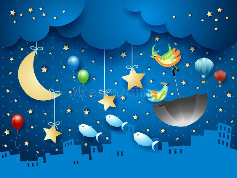 Surreal nacht met stedelijke horizon en vliegende paraplu en vissen vector illustratie